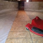 Crawlspace vapor barrier with plywood runner