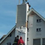 radon exhaust pipe installation in chimney